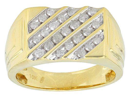 .50ctw Round White Diamond 10k Yellow Gold Gents Ring