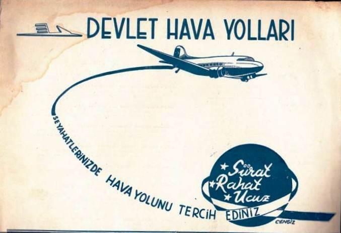 1950li yıllar Devlet Hava Yolları Afiş