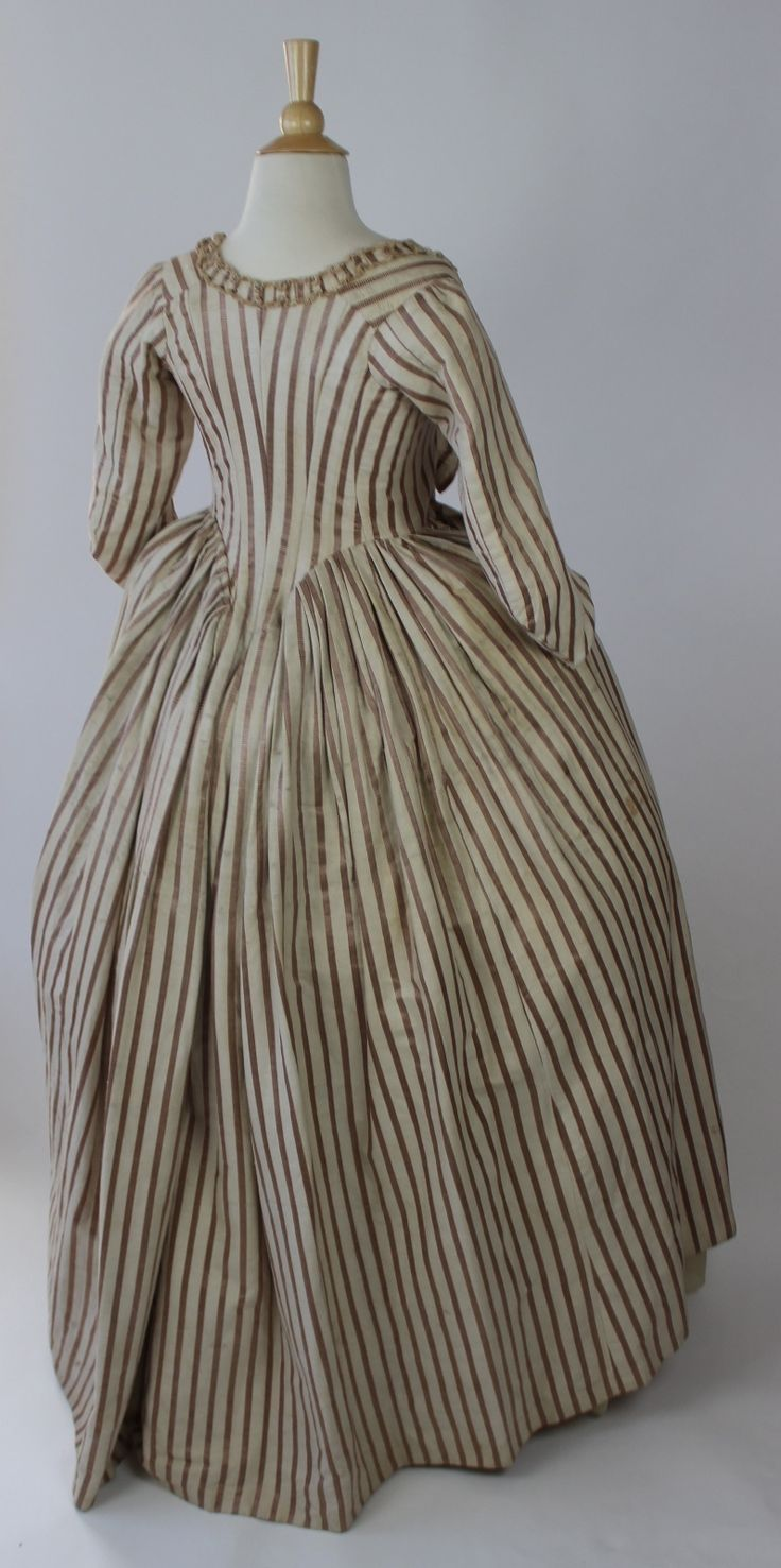 images about th century dress silk striped 18th century robe in silk and cotton self fabric ruching and bows