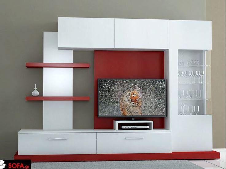 Σύνθεση τοίχου 900 με βιτρίνα σε λευκή και κόκκινη λάκα http://www.sofa.gr/epiplo/synthesi-900