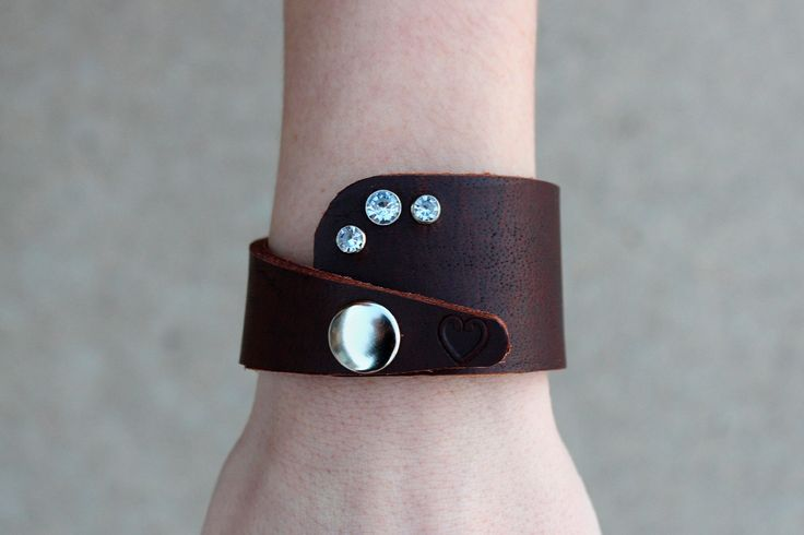 Leather Cuff Bracelet with Jewels and a Heart Stamp. $10.00, via Etsy.