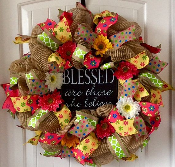 Burlap Wreath Spring Burlap Wreath Summer by beadingheartdecor