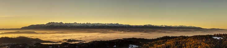 Tatra mountains at sunrise View from Gorce National Park, Poland  Go to http://macieksulkowski.pl/magurki this is panorama presentation like should be (use mouse wheel or keyboard arrow to scroll)  #poland #slovakia #tatra #polandisbeautiful #sunrise #landscapephotography #macieksulkowski