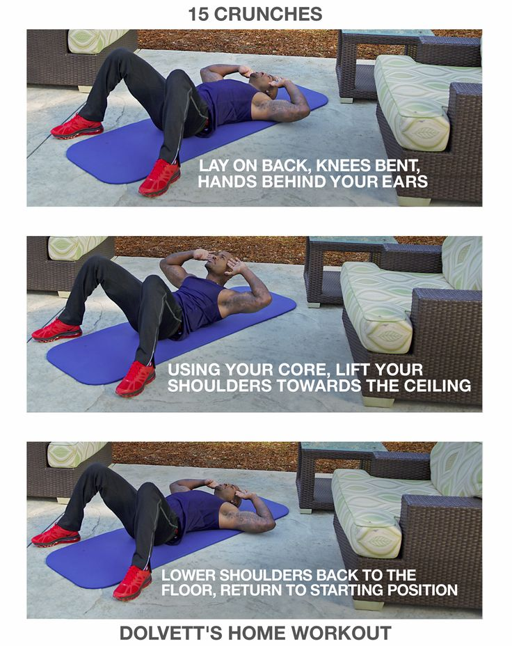 15 Crunches: 1. Lay on back, knees bent, hands behind your ears (feet slightly wider than shoulders' width apart) 2. Using your core, lift your shoulders towards the ceiling (until your shoulder blades are off the floor, keep neck relaxed, stare straight up towards the sky) 3. Lower your shoulders back to the floor, return to starting position  //  #BiggestLoser #DailyHomeWorkout