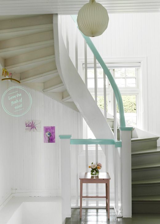 Paint your staircase banister in your favourite colour - a Livingetc shoot! I'd recognise that roundal anywhere!