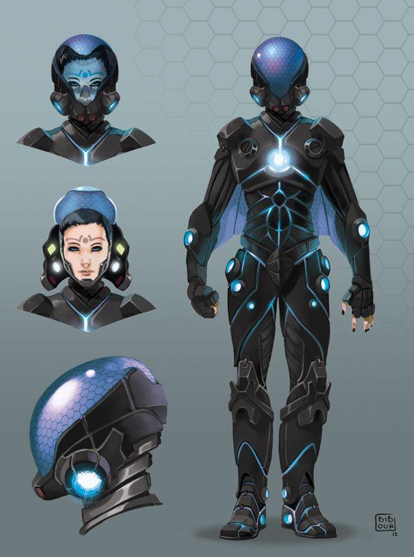 Future, Futuristic, Future Warrior, Helmet, Sci-Fi, Futuristic Suit, Science Fiction, Tron Clothing, Futuristic Costume, Zhodani Elite Forces Battle Dress  (Delta chara1 by ~bib0un on deviantART)