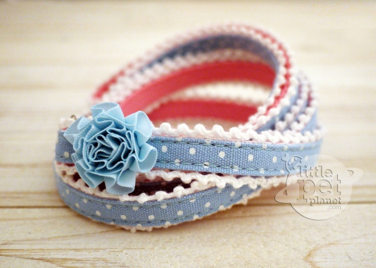 Little Pet Planet - Lace Trim Polka Dot Pet Dog Collar US$14.99
