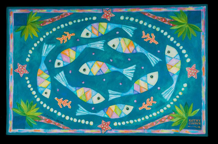 """""""Fish and Pearls"""" floorcloth"""