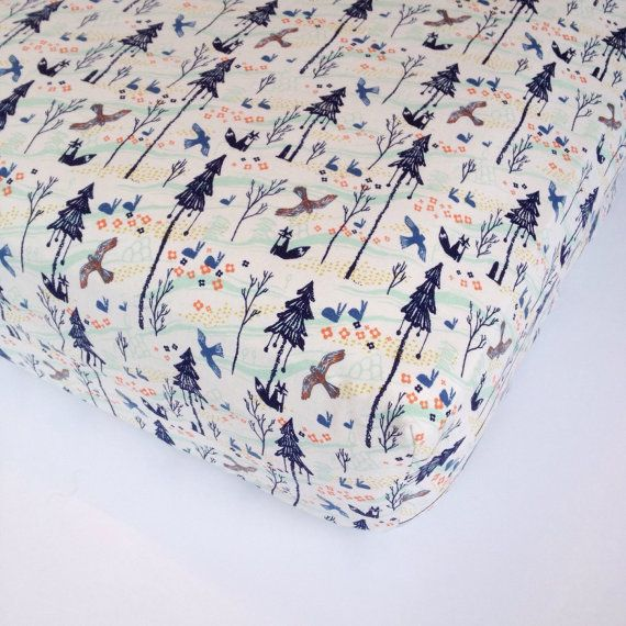 Woodland Baby Bedding - Fox Crib Sheet / Fitted Crib Sheets / Changing Pad Covers / Navy Nursery Bedding / Baby Sheet by Babiease