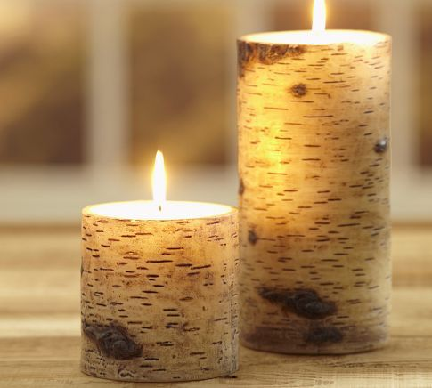 Painted Birch Candles | Pottery Barn  Cabin Perfect