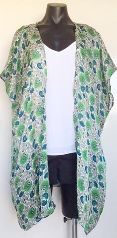 Green Fan Print Kimono