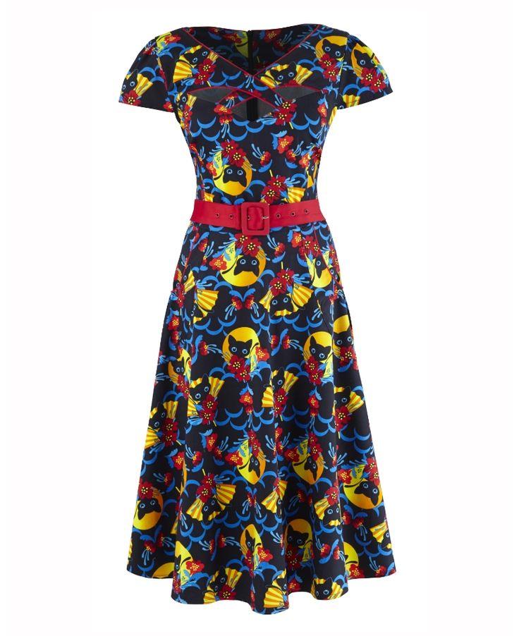 Voodoo Vixen Cat and Flower Print Dress
