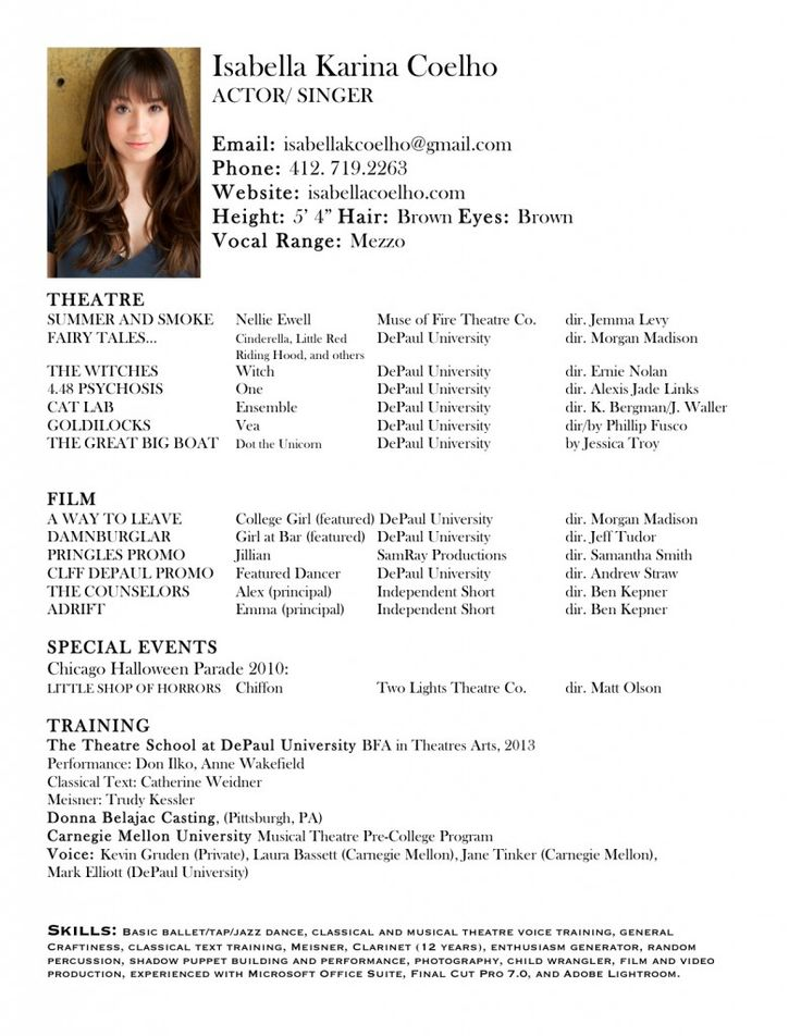 actor sample resume
