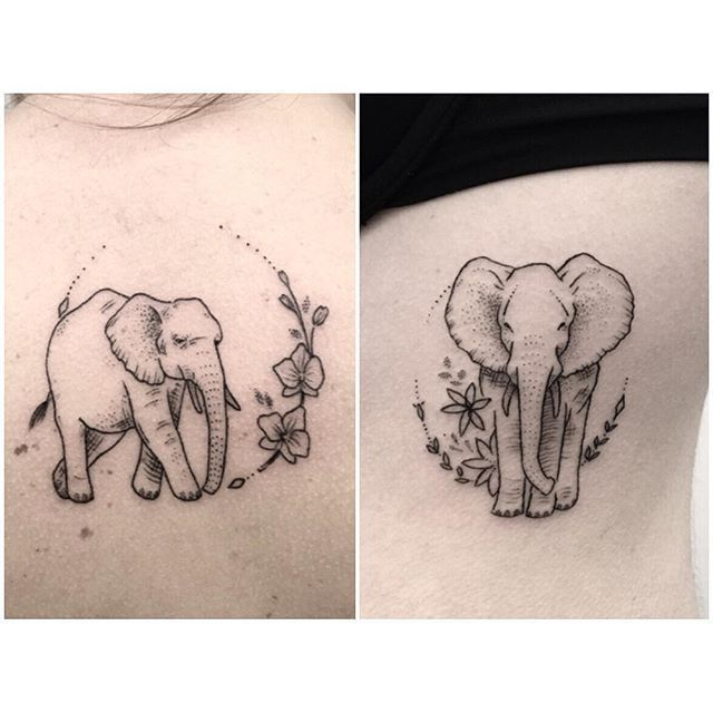 elephants #tattoo #dotworktattoo #dotwork #simpletattoo #smalltattoos #blackink #elephanttattoo #elephant