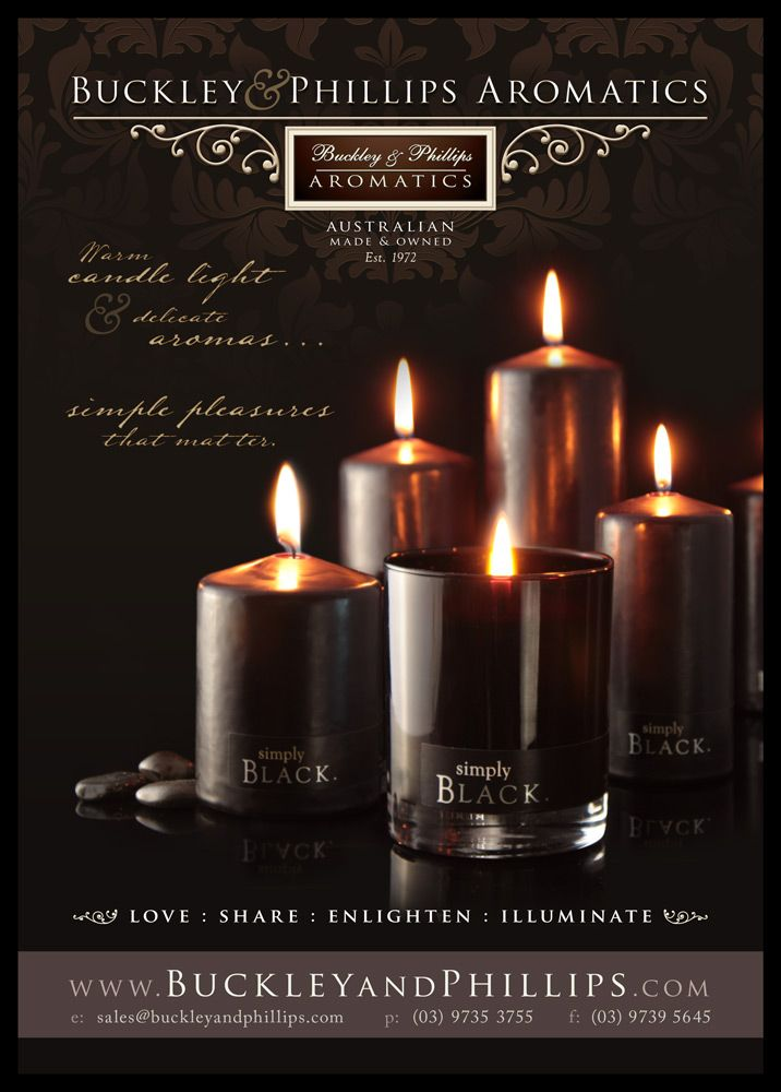 Buckley & Phillips - Simply candles full page cover ad. Giftwrap Magazine. Sept 2013