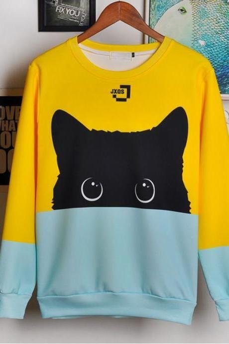 Cute Black Cat Sweatshirt Women 9