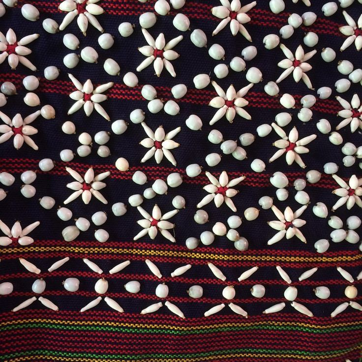 """""""Wonderful bead and seed embroidery on cotton fabric from the village of Wat Chan, Northern…"""""""