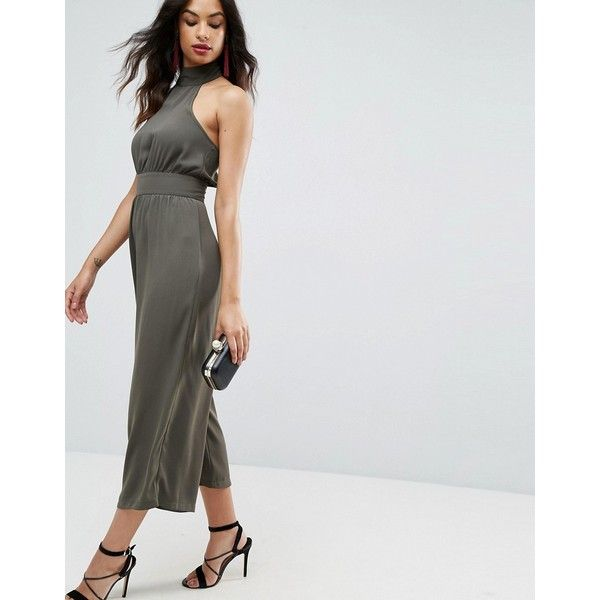 ASOS Jumpsuit with High Neck and Buckle ($67) ❤ liked on Polyvore featuring jumpsuits, green, asos, asos jumpsuit, party jumpsuits, green jumpsuits and jump suit