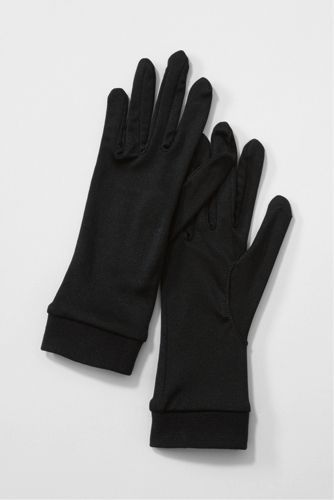 Silk glove liners from Land's End. Black & Ecru. Can wear alone, reviewers claim to be able to grip wheel for driving & work on touch screens. I feel gussets between fingers would reduce chances of ripping at seams. Reg $17 ea. ,but discounted in multiples. ALady