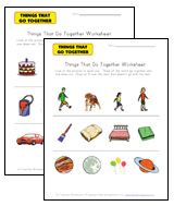 THING THAT GO TOGETHER: We have worksheets that ask kids to indentify things that go together, worksheets that ask kids to identify things that don't go with the rest as well as worksheets that ask kids to look at pictures and then draw something on their own that goes together with the others