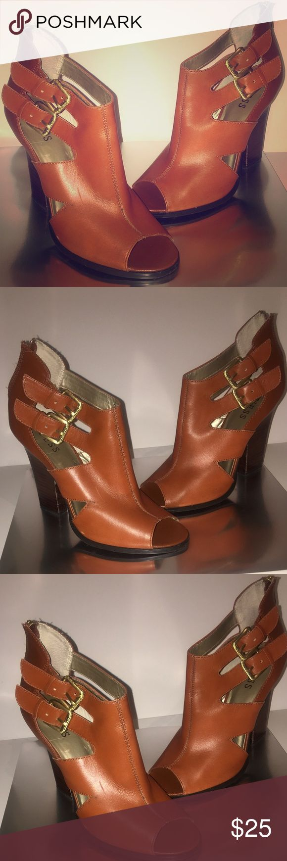 "Guess peep-toe booties Lightly used Camel colored booties with ""thick"" heel. Zip up back Guess Shoes Ankle Boots & Booties"