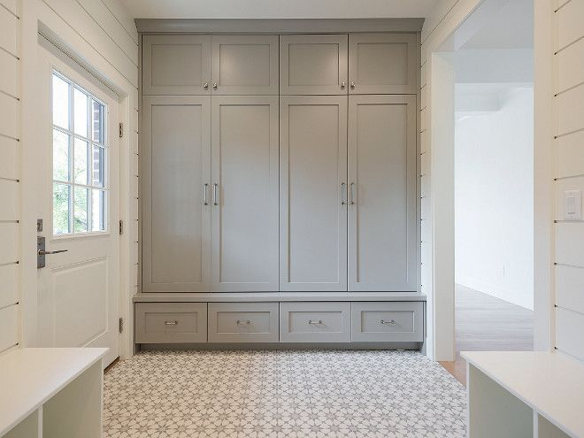 """cabinet paint color is """"Sherwin Williams Dorian Gray"""". Shiplap paint color is Benjamin Moore White Dove."""
