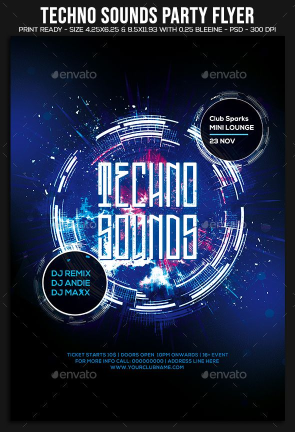 techno sounds party flyer template psd download flyer templates