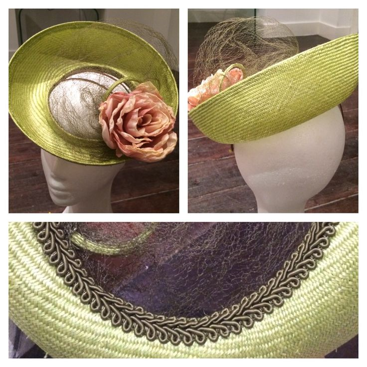 Parasisal straw with silk flower and vintage veiling. Perfect Oaks Day millinery