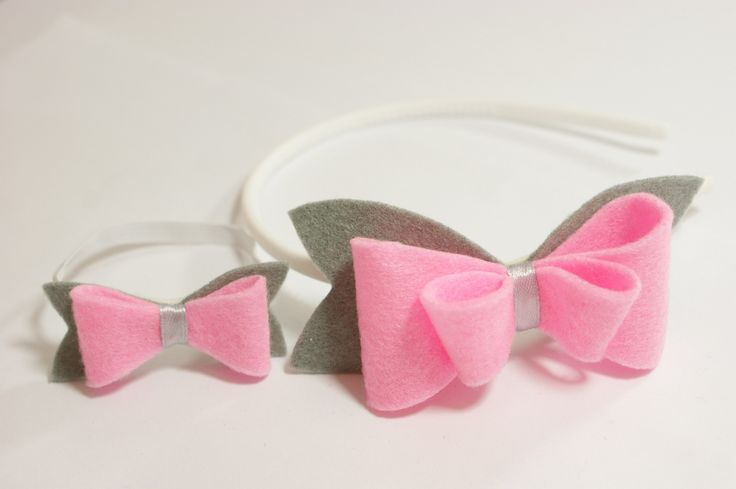 Handmade. Hair band with pink-grey felt bow. Girls and dolls accessories.