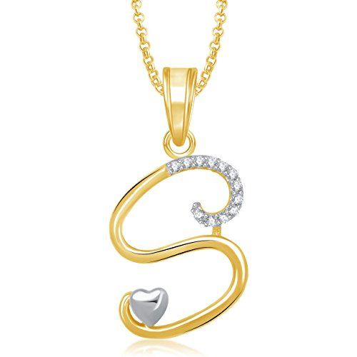Meenaz Gold Plated 'S' Letter Pendant Locket Alphabet Heart For Men And Women With Chain Ps326 - http://weddingcollections.co.in/product/meenaz-gold-plated-s-letter-pendant-locket-alphabet-heart-for-men-and-women-with-chain-ps326/