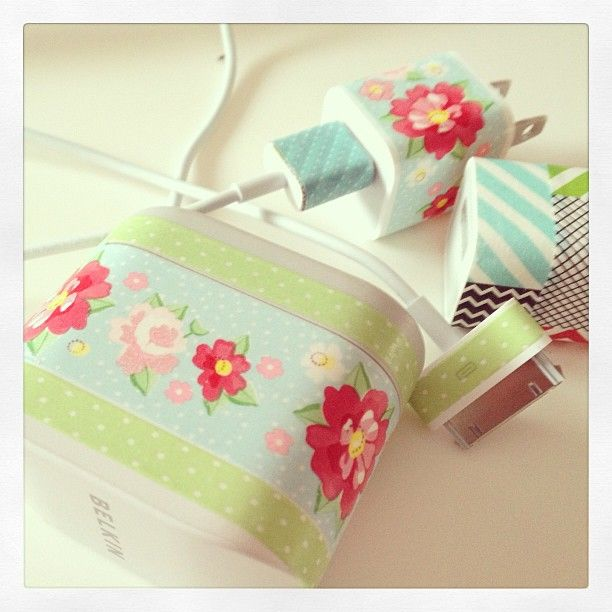 putting washi tape on your chargers to tell them apart