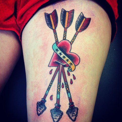 Arrow and heart tattoo by Ryan Brown   All Star Tattoo 8601 Olive Blvd, University City MO 63132 (314) 692-7827