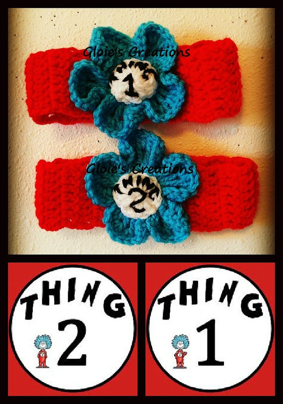 Crochet Thing 1 and 2 Headbands Set Dr Seuss Cat in the by gfrelk1, $25.00
