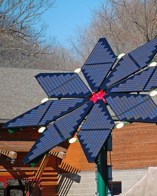 Solar Panels. Flower shaped solar panels by a concession stand at the Milwaukee County Zoo.