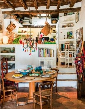 A petite dining nook at Es Pouas. Chairish is taking our next vacation here in Ibiza!!