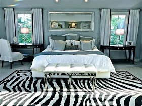 Conspicuous Style blog's Stacy Curran's bedroom with a DIY on these cotton window panels.