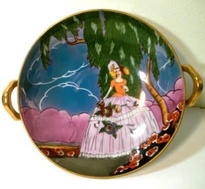 ANTIQUE ART DECO NORITAKE LUSTRE BOUDOIR LADY PEDESTAL BOWL | eBay