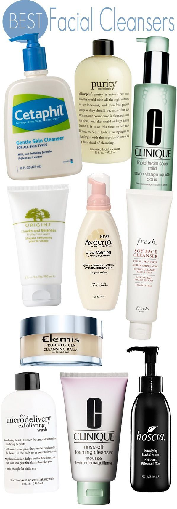 1. Cetaphil Gentle Skin Cleanser  2. Philosophy Purity Made Simple  3. Clinique Liquid Facial Soap  4. Elemis Pro-Collagen Cleansing Balm  5. Origins Checks and Balances Frothy Face Wash  6. Aveeno Ultra Calming Foaming Cleanser * pinterestfashionfinds.wordpress.com/2014/12/28/best-facial-cleansers/amp/
