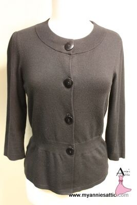 Ann Taylor cardigan, size MEDIUM Black, silk/cotton/nylon/cashmere/lycra $14.10