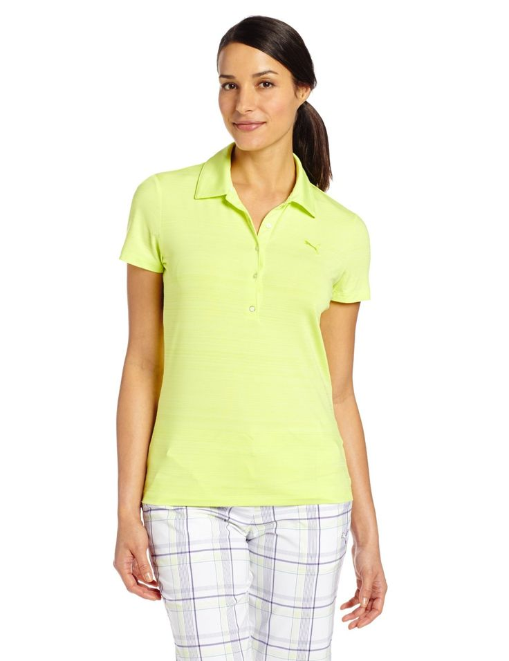 Stretch dryCELL fabrication on this womens NA barcode golf polo shirt by Puma provides moisture wicking properties that help keep you dry and comfortable