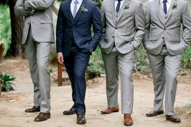 Navy Blue and Grey Wedding Suit