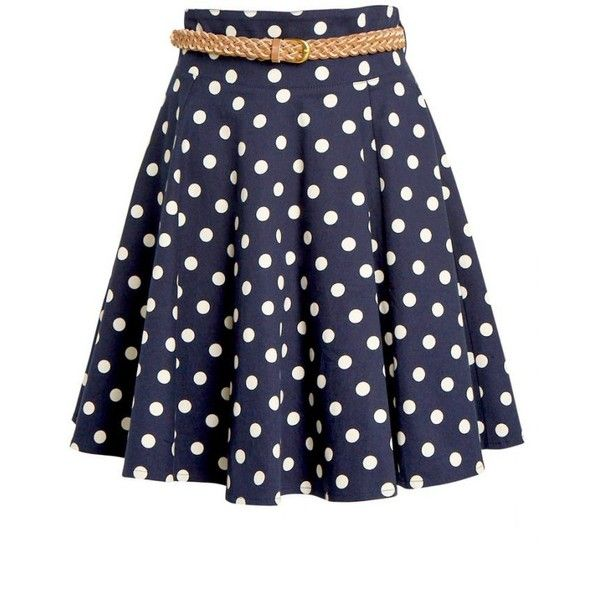 Quinn Polka Dot Skirt (€140) ❤ liked on Polyvore featuring skirts, polka dot skirt, dot skirt, stretch skirts, cotton skirts and blue skirt