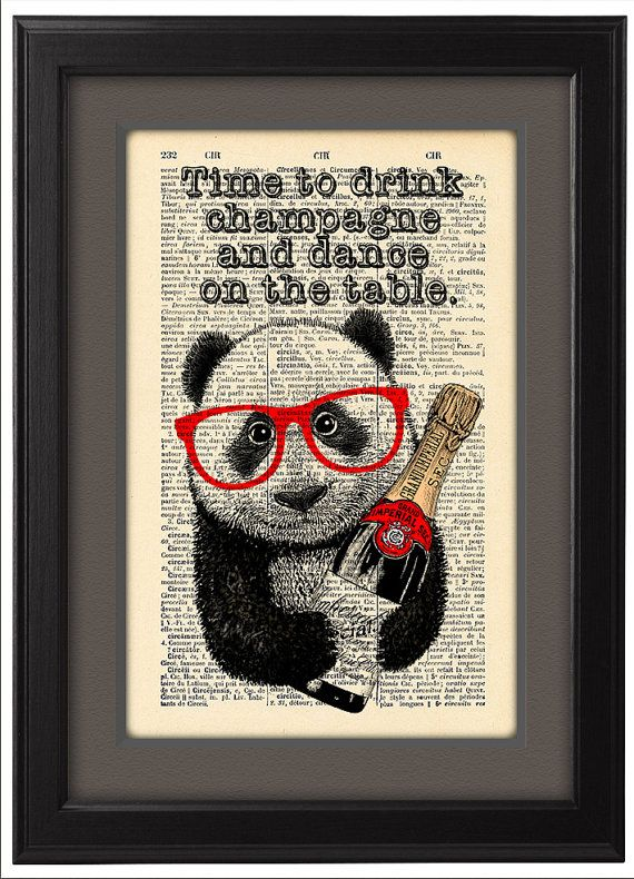 Time to Drink Champagne, Panda art, DICTIONARY Print  poster, Typographic print, Inspirational poster, Dorm wall decor Gift poster, CODE/105