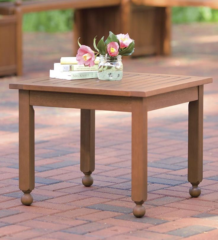 Forest Stewardship Council Certified Weather Resistant Solid Eucalyptus  Side Table. Outdoor ...