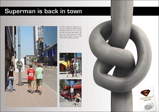 映画(Superman The Return)の屋外広告。新作公開に向けたゲリラマーケティング、アントワープ市の至る所で展開されたようです。<ベルギー>