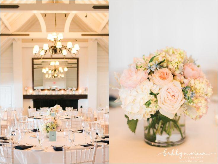 White Hydrangeas and Peach Roses Floral Centerpieces. Montauk Yacht Club Wedding Photos.
