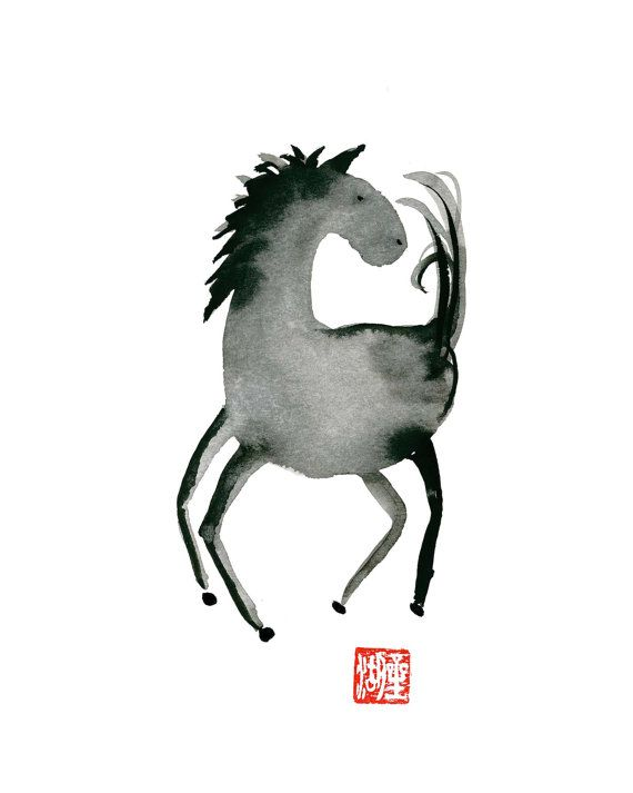 Horse Year of the Horse for 2014 Chinese Zodiac Original Zen Sumi Ink Painting by ZenBrush
