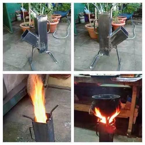 Cocina cohete rocket stove para discos arado a le a - Cocina economica a lena ...