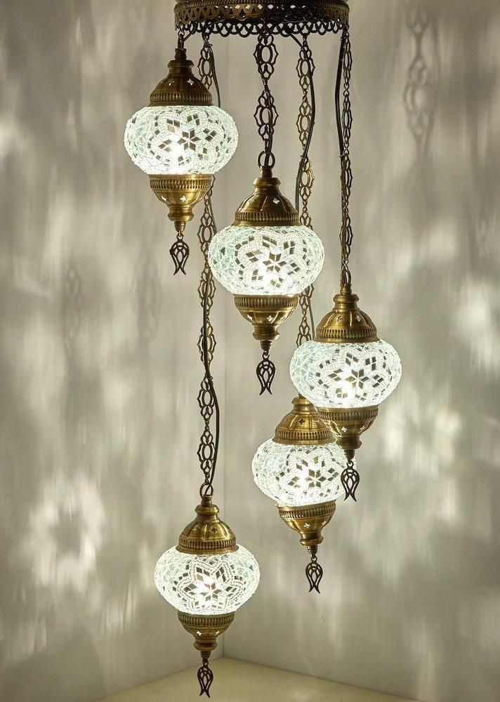 Traditional Turkish 5 Glob Moroccan Style Mosaic Hanging Lamp Light H565 Handmade Mosaic Hanging Ceiling Lamps Plug In Chandelier Globe Ceiling Light