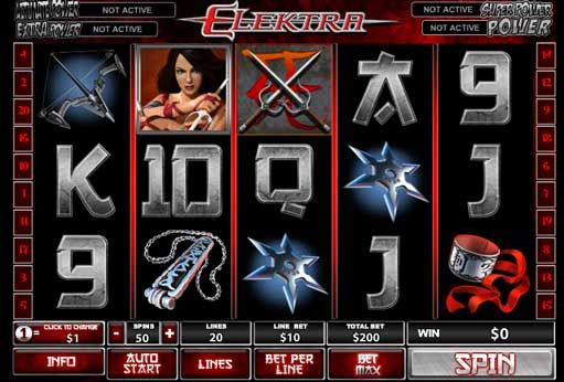 How to play Elektra slot review Playtech Company once again has released a game on Marvel comic book about girl warrior who has mastered the weapon from the arsenal of the Japanese samurai. This 5-reel, 20 paylines video slot with bonus features, special symbols, and, of course, Marvels mystery progressive jackpot. This is your choice to play Elektra slots free in available demo mode or risk money.